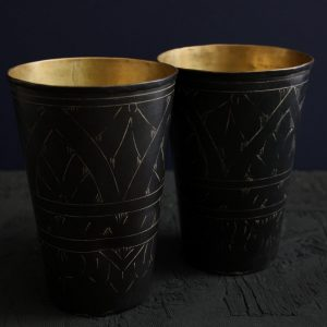 Black etched Lassi cups for home decor