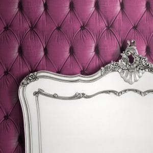 Chesterfield Wallpaper in pink colour with white bedstead