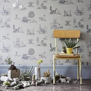Dino Wallpaper in Grey colour with chair