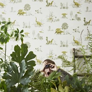 Dino Magnetic Wallpaper with jungle and binoculars boy
