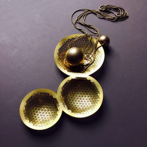 Designer brass push trio bowl by Fundamental Berlin