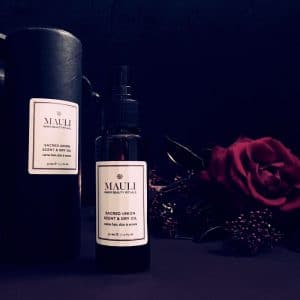 sacred union scent and dry oil bottle