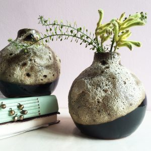 The Kora Vase by Curious Egg a round vase with rough glazed surface.