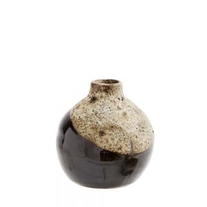 terracotta small round vase with rustic textured glaze in brown and white