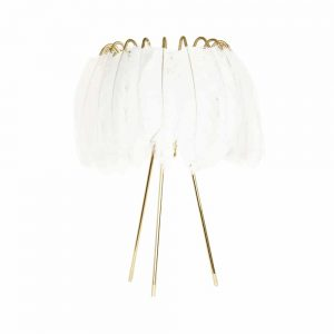 Table Lamp with white feathers by Mineheart