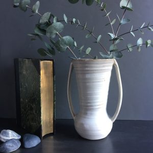 urn style white ceramic vase with two handles