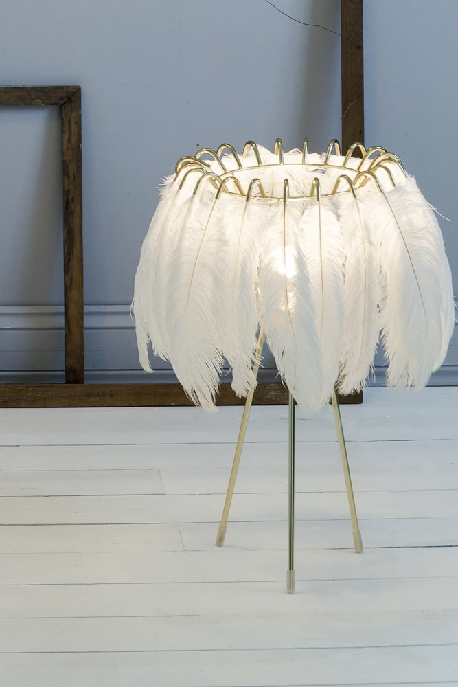 White feather table lamp curiousegg these glamourous feather lamps feature luxurious black or white feathers held in place by a gold keyboard keysfo Gallery
