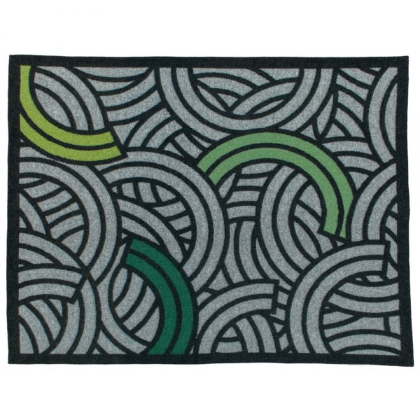 textile blanket with abstract design in grey and black curved linear design with shades of green design by Tim Fishlock for Inigo Scout sold by Curious Egg