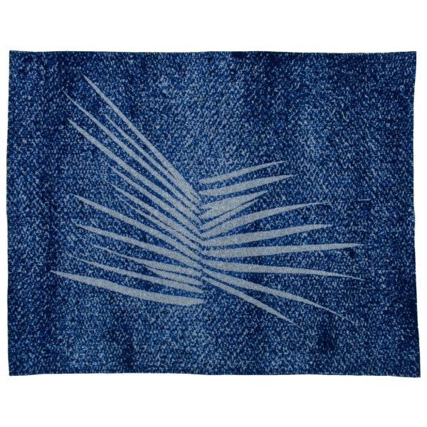 textile blanket with abstract design in grey and blue with a jagged motif in the centre in grey design by Kimvi Nguyen for Inigo Scout sold by Curious Egg