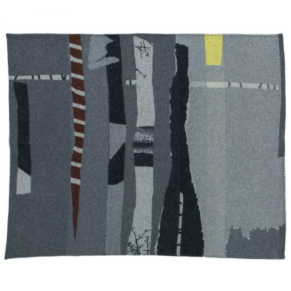 textile blanket with abstract design in grey and black with yellow detailby Tim Robinson for - Inigo Scout sold by Curious Egg