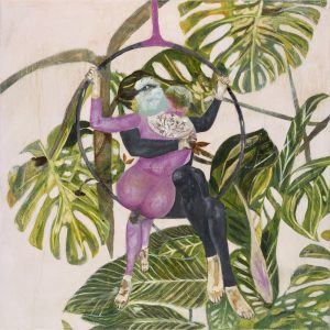 350 x350mm Giclee print with pink background large leafs and bird headed acrobats by Karenina Fabrizzi for Curious Egg