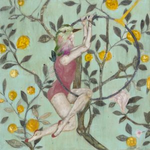 Mixed Media painting with a turquoise background and yellow flowers with a birdheaded acrobat on a hoop trapeze by Karenina Fabrizzi for Curious Egg