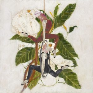 Mixed Media Painting with a neutral background and two acrobats with cockatoo heads hanging one above the other with plants in the background