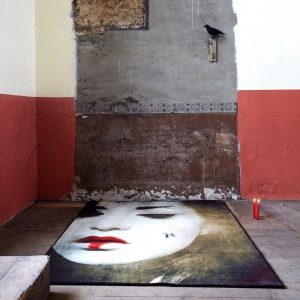 Image of rug with japanese contemporary Geisha on floor and concrete walls sold by Curious Egg