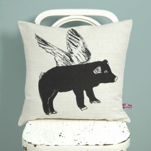 Sian Zeng  Flying Pig Cushion in black for home textiles Curious Egg
