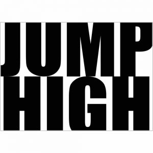 We are amused Jump High art print in monochrome 30 x 40
