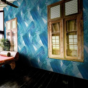 Plato Wallpaper by Feathr in Blue colour with window