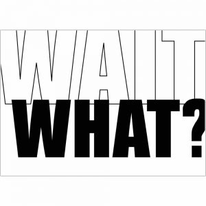 Wait What? art print by we are amused in black text on a white background 30 x 40