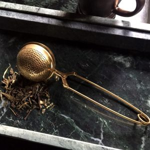 Gold Ball shaped tea strainer small batch brass kitchen accessory