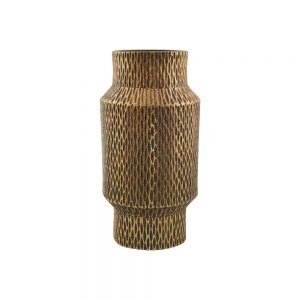 Munu brass handcast vase with lattice pattern