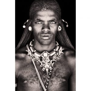 Image of Samburu Warrior on textile woven wallhanging