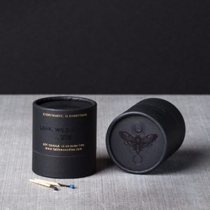 Devotion scented candle by Tatine showing black box with moth symbol
