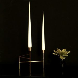 Hand dipped taper candle with gold candlholder for dining décor