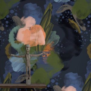 English Rose Wallpaper in Midnight Colour by Feathr at Curious Egg