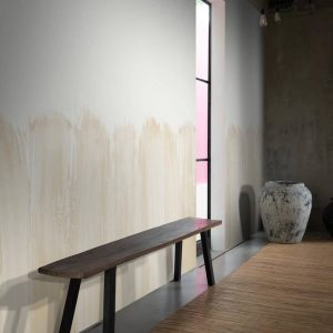 Vigor Wallpaper in Sand Colour by Feathr at Curious Egg.  Lifestyle image with bamboo flooring