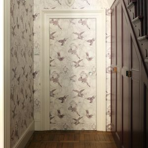 Hallway decorated with Taxidermy birds wallpaper by Daniel Heath in Grape Colour