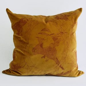 Daniel Heath taxidermy Birds Velvet Cushion in Gold Colour