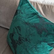 Daniel Heath taxidermy Birds Velvet Cushion in Emerald Colour Close Up