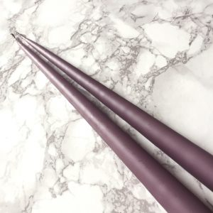 Hand dipped taper candles in French Lavender colour