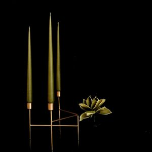 Hand dipped taper candles in Olive colour in gold candle stand