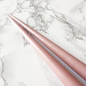 Hand dipped taper candles in Rose petal colour