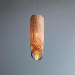 Pren Shadow 01 - hand woven sculptural rattan light fitting with grey background
