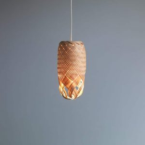 Pren Shadow 03 - hand woven sculptural rattan light fitting with grey background