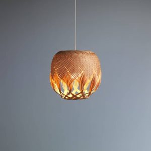 Pren Shadow 04 - hand woven sculptural rattan light fitting with grey background