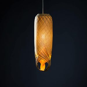 Pren Shadow 01 - hand woven sculptural rattan light fitting with dark background