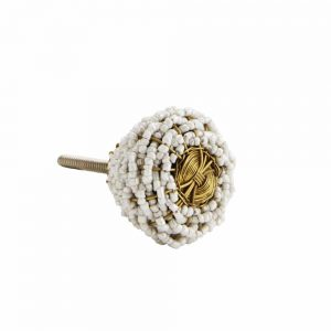 Calvin beaded doorknob with brass wire and white beads. Cutout on white background.