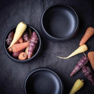 black ceramic snack bowls with coloured carrots