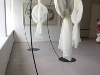 sculpture with white cloth at degree show