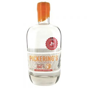 Pickering's 1947 gin bottle cutout image on a white background