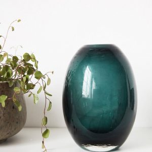 teal turquoise hand blown glass vase