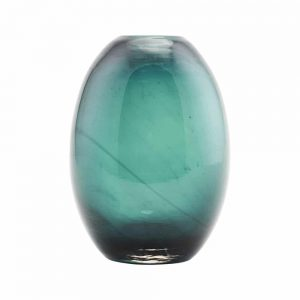 deep teal turquoise handblown glass vase