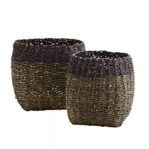 grey woven bamboo baskets with aubergine coloured band