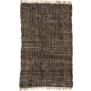 charcoal leather and hemp woven rug boho style