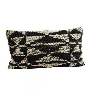 woven jute and chenile cushion with geometric design