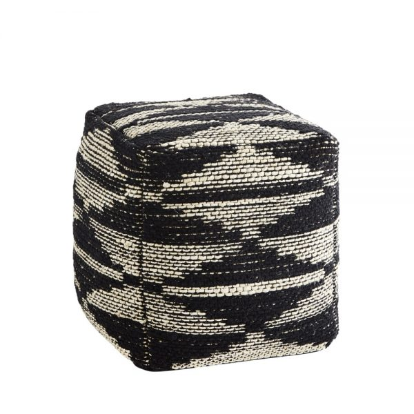 woven jute and chenile pouffe