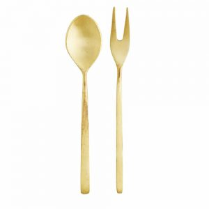 small gold fork and spoon for serving food delicacies